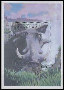 Congo 2000 MNH MS, Desert warthog, Wild Animals, Waterfalls, Waterfall
