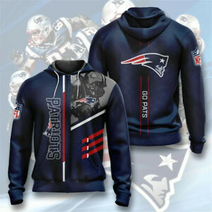 New England Patriots Hoodie Football Zipper Sweatshirt Fans Casual Hooded Jacket