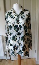 Per Una M&S Long Sleeve Ivory Green Floral Long Shirt Length 34""