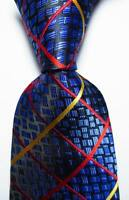 New Classic Checks Blue Gold Red JACQUARD WOVEN 100% Silk Men's Tie Necktie