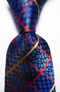 New Classic Checks Blue Gold Red JACQUARD WOVEN 100% Silk Men's Tie Necktie