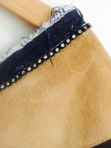 Bracewell tee. Suede, Diamanté, Denim Trim. Small. Sz 8