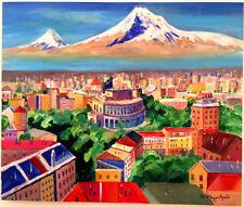 """YEREVAN & Mt ARARAT"" Erevan Ереван Երևան- Armenia Art Painting- ARMENIAN Artist"