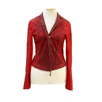 ROBERTO CAVALLI JACKET RED SIZE S SNAKE PRINT LONG SLEEVE MADE IN ITALY