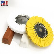 """4 Pc Kit: 8"""" White & Yellow Airway Buffing Wheel and 2 Polishing Compound Bars"""