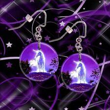 "MYSTICAL UNICORN  1"" Button Dangle Earrings  FREE PIN  USA Seller"