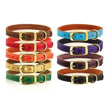 """0.4""""/ 10mm Genuine Leather Puppy Dog Cat Collar Small XS Red Brown Blue Purple"""
