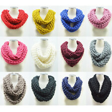 Infinity Scarf Womens Winter Warm 2 Circle Cable Knit Cowl Neck Long Scarf Shawl