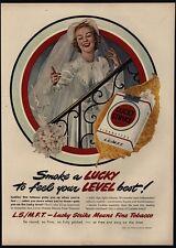 1949 Bride Smokes LUCKY STRIKE Cigarettes & Throws Wedding Boquet VINTAGE AD