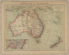 AUSTRALIEN Neuseeland Original Landkarte von 1895 Queensland Adelaide SYDNEY