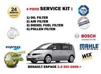 für Renault Espace 2.0 dCi 8/2006- > ÖL- LUFT- KRAFTSTOFF- Pollenfilter