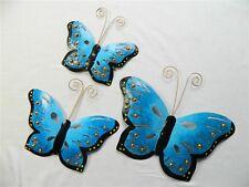 Butterfly Wall Art Ornament - Metal Butterflies Wall Hanging - Blue - Set of 3