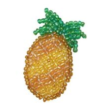 ID 9113 Pineapple Hawaiian Tropical Fruit Plant Beaded Iron On Applique Patch