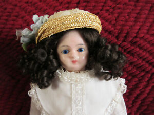 "Early Antique 16 1/2"" Wax over Papier Mache Doll w Mohair Wig"