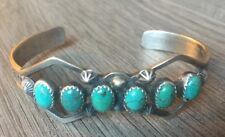 """SIGNED/STAMPED"" NAVAJO ROYSTON TURQUOISE & STERLING SILVER CUFF ROW BRACELET"
