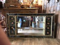 Mid Century Modern Shadow Box Mirror Shelves Wall Decor Living Room Retro