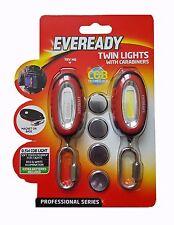Eveready 2 Keyring Torch Lights Carabiners - Camping Cycling Walking Safety