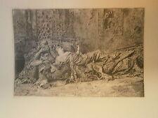 Planche gravure Repos d'aprés Louis Leloir Graveur C-A Waltner