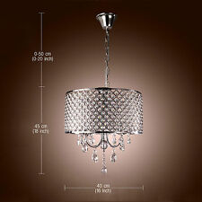 Modern Pendant Lamp Crystal Ceiling Lighting Drum Chandelier Hall Living/Bedroom