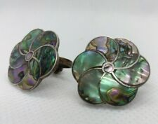 TAXCO Sterling Silver Abalone Paua Shell Screw Earrings Eagle Mark 925 Mexican