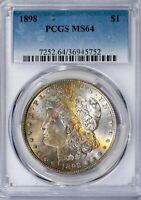 1898 Morgan PCGS MS64 Choice, Crescent Toned Silver Dollar Gem, Nice Eye Appeal!