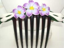 "4.75/"" Hawaiian Fimo Clay 3 Graduated Plumeria Flower Hair Comb #5"