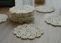 Dozen Crochet Small Round Doilies Lot Ecru Snowflakes Cotton Appliques in bulk