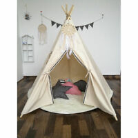 Holiday Gift WHITE 6ft Cotton Canvas Deluxe Teepee Playhouse Play Tent For Kids