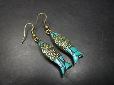 small Fashion Earrings India Jewelry E3129 Tibetan handmade mosaic Fish design