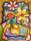 Original Still Life Vase Flowers Cup Painting on 140lb. Paper Shantelle Knight
