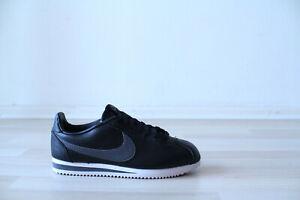 Nike Classic Cortez Leather Schwarz Weiß Grau Gr. 38,5 UK 5,5 NEU 749571 011