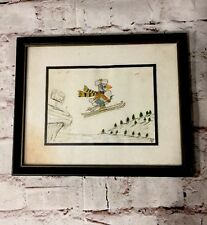 """Original Pencil Drawing By MCE Signed, Bird Skiing Holding An Acorn, 11"""" X 9"""""""
