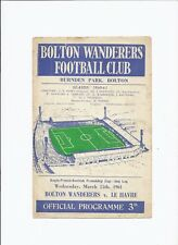 Bolton Wanderers v Le Harve 15 March 1961 Ango French Scottish Friendship Cup