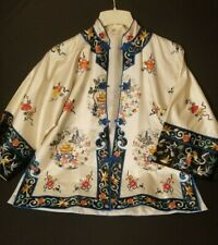 Chinese Vintage 1960s 70s Silk Lily Embroidered Kimono Coat Jacket