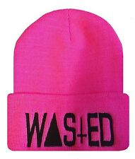 """Pink/Black TRENDY COOL HIP CUFFED """"WASTED"""" BEANIE Beanies HAT SKULL CAP"""