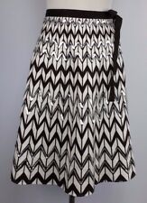 WD.NY Size10 Brown/White Chevron Pattern A-Line Skirt Embellished Sequins Lined