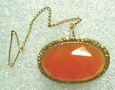 old Victorian faceted carnelian gold plated pin with safety chain