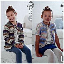 KNITTING PATTERN Girls Easy Knit Long/Short Sleeve Picot Edge Cardigan DK 4781