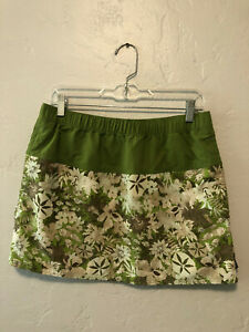 Patagonia Skirt M Green Floral Pockets Sport Nylon Adjustable Athletic