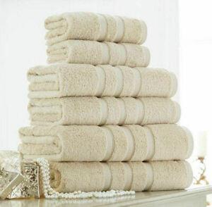 Cream Towel Sets Cotton 100% Hand Towel Bale 500 GSM Bathroom 2 3 4 6 Piece Sets