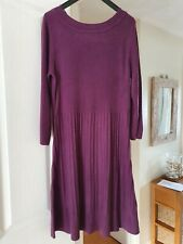 F&F Berry Coloured Thin Knit Fit and Flare Dress, Ribbed, Size 18, Good Conditio