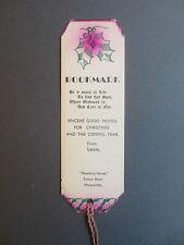 Vintage Greetings BOOKMARK Christmas Wishes Newbury House Euston Rd MORECAMBE