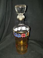 """Vintage Iridescent Amber Glass Decanter with Bottle Stopper 3""""x3""""x 11"""" tall Used"""