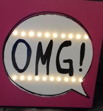 Pink OMG! Novelty LED Light Sign Box Canvas Wall Art Mounted Plaque