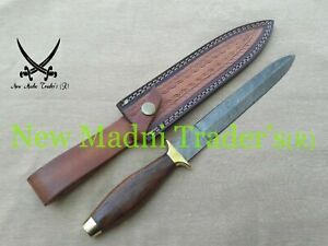 """12"""" DAMASCUS ROSE WOOD HANDLE HANDMADE BOOT KNIFE WITH FREE SHEATH AND SHIPPING"""
