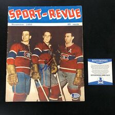 Jean Beliveau Signed Montreal Canadiens 1955 Sport Revue Magazine Beckett COA