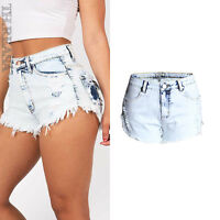 New Womens Denim Hot Shorts Ripped High Waist Washed Short Jeans Hot Pants