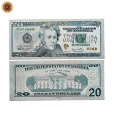 WR Latest US $20 Twenty Dollar Note Color Silver Plated America Banknote Money