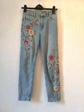 """Top Shop 10 W25"""" L30"""" faded embroidery faded vintage look skinny Jeans"""