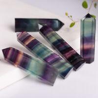 Natural Hexagonal Crystal Quartz Art Gift Fluorite Wand Stone Gem Decor Collect